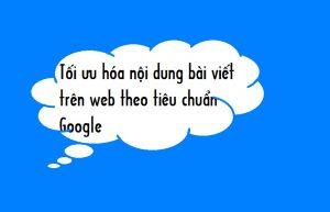 Tối ưu hóa nội dung bài viết trên web theo tiêu chuẩn Google